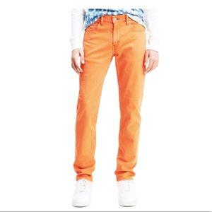 LEVIS 511 Tangy Orange slim denim jeans size 33x34